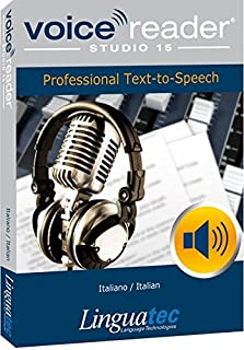 Voice Reader Studio 15 Italiano / Italian – Professional Text-to-Speech Software (TTS) for Windows PC / Convert any text into audio / Natural sounding voices / Create high-quality audio files / Large variety of applications: E-learning; Enrichment of training documents or advertising material; Traffic announcements, Telephone information systems; Voice synthesis of documents; Creation of audio books; Support for individuals with sight disability or dyslexia / Pronunciation can be customized via user dictionaries / Cost-efficient alternative to recording studios / Available in 45 languages / Direct Integration in Microsoft® Word, Outlook and Power Point / Voice Reader Studio 15 Italian contains three female and one male voice. One of the female voices is a Multilanguage voice (ML), which has extended language abilities in English (UK), French, Spanish and German