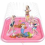 Peradix Splash Pad,Juego de Agua, Tapete de Agua Chapoteo Almohadilla Aspersor de Juego PVC Salpica de Jueg Agua para Actividades Juegos Aire Libre para Niños(Azul)