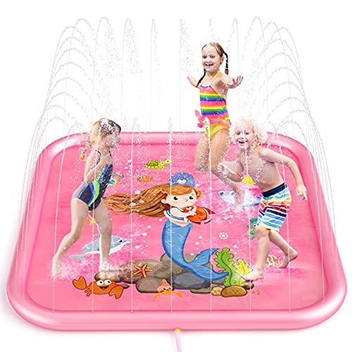 Peradix Tappetino Gioco d'Acqua per Bambini,170cm Spruzzo d'Acqua Tappetino Splash Pad d'Acqua Giocattoli da Giardino, Giochi per Bambini Compleanno Regali Bimbi Bambino Bambina 4 5 6 7 8 Anni (Rosa)