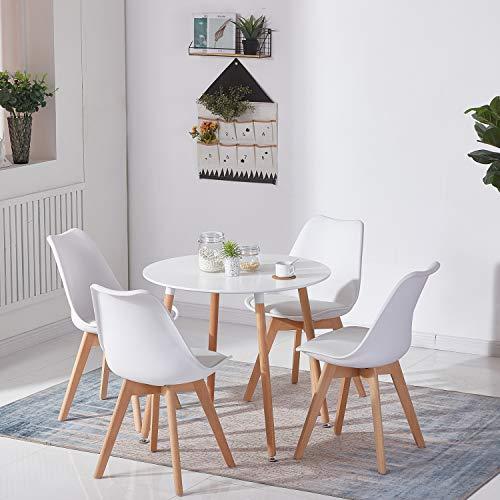 DORAFAIR Set aus Runder Küchentisch und 4 Skandinavischen Stühlen, für Küche Esszimmer Büro, Weißer Stuhl