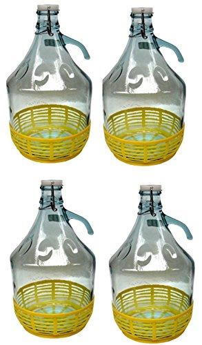 lilawelt24 4 STÜCK 5L Gärballon mit BÜGELVERSCHLUSS und Kunststoffkorb Flasche Glasballon Weinballon Bügelflasche Glasflasche