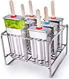 Stainless Steel Popsicle Molds BPA Free – Eco Friendly, Rust-Resistant Popsicle Maker Set – 6 Ice Pop Molds w/ Matching Rack – Leak-Proof Silicone Seals – Classic Design for Easy Removal and Clean-Up!