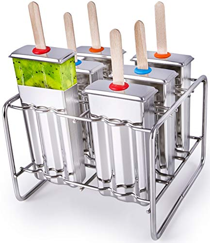 Stainless Steel Popsicle Molds BPA Free – Eco Friendly RustResistant Popsicle Maker Set – 6 Ice Pop Molds w/ Matching Rack – LeakProof Silicone Seals – Classic Design for Easy Removal and CleanUp