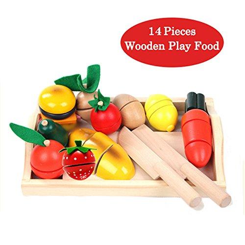 BigNoseDeer De Madera para Cortar Verduras Comida Comida Comida Cocina 13 pcs Set de Aprendizaje
