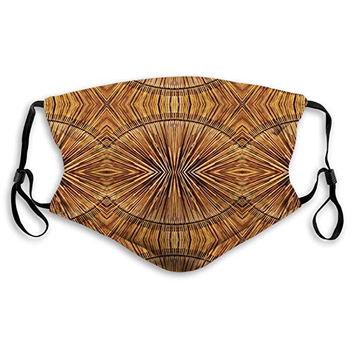 Fillter Face Cloth for Mens and Womens,Boho Bamboo Pattern Primitive Eastern Ancient Jagged Wood Style Artistic Print ,Cold Mouth Dustproof Double Protection,S