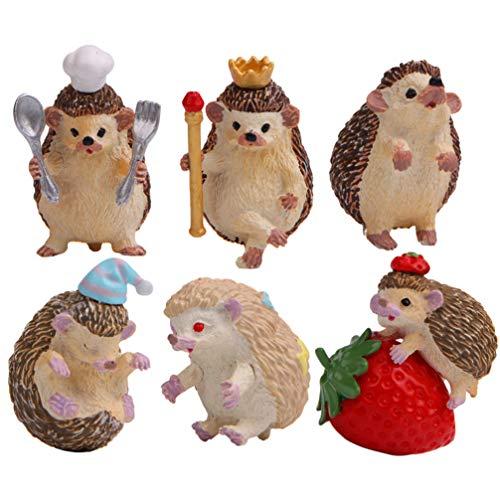 LIOOBO 6 Piezas de miniaturas de jardín de Hadas figuritas de Erizo Mini estatuas de jardín Decoraciones de Cupcakes de Animales