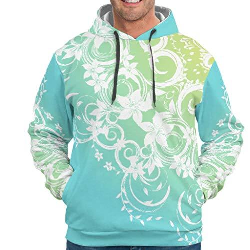 Lind88 Jaune-vert gradient Mandela Motif Hommes Hoodies Adolescent Personnalisé - Mandela Art avec Poche Kangourou Veste d'entraînement XXXXL blanc