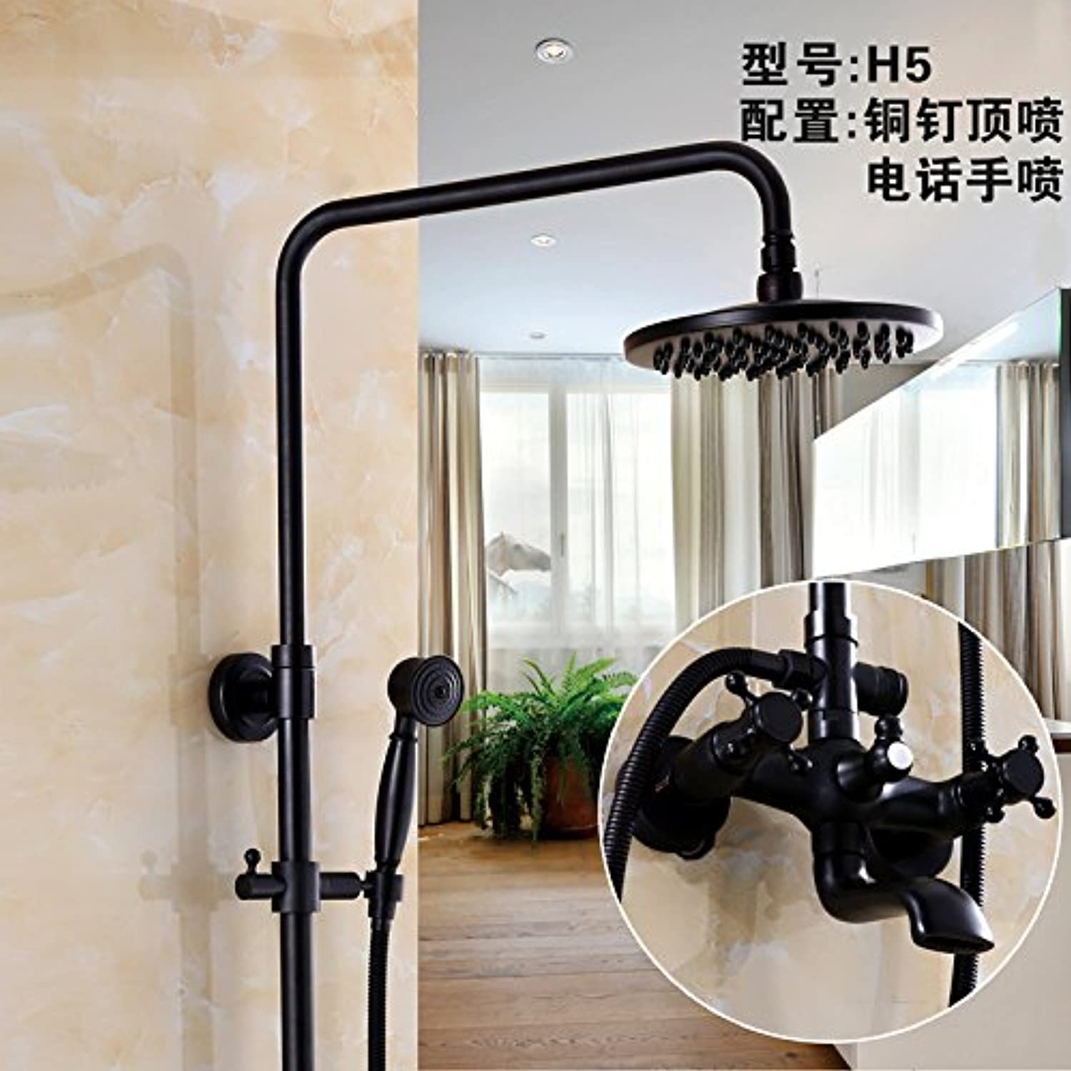 Hlluya Professional Sink Mixer Tap Kitchen Faucet The pressurization full copper bathroom black shower faucet set antique shower faucet can lift redary,H5