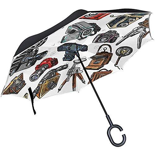 Mike-Shop Doppelschicht-umgekehrter Regenschirm-Kamera-Skizzen-Ikonen stellten winddichten Auto-Regen außerhalb des C-förmigen Griffs EIN