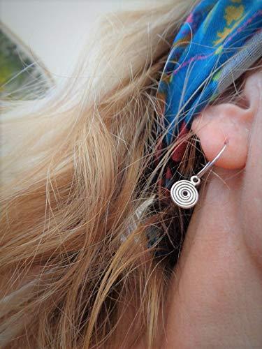 ꧁ KLEINE SPIRAL CREOLEN ꧂ runde Ohrringe mit kleinen baumelnden Spiralen