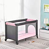 Infant Travel Cot 125 x 66 cm, Portable Baby Crib Bed and Playpen