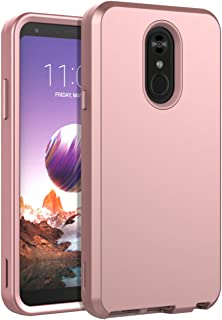 LG Stylo 4 Case,LG Q Stylus Case,LG Stylus 4 Case,SKYLMW Heavy Duty Case Three Layer Hybrid Sturdy Shockproof Armor High Impact Resistant Protective Cover Case for LG Stylo 4,Rose Gold/Pink