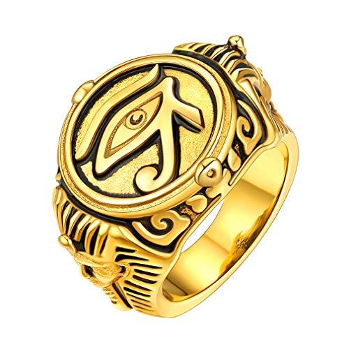 FaithHeart Anillo Cerrado con Banda Ancha Joyería Acero Inoxidable 316L Metálico Chapado en Oro Amarillo 18K Anillo de Ojos de Horus de Egipcia Antigua