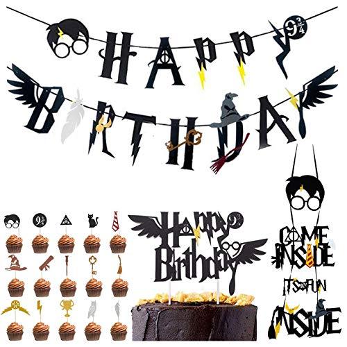 Wizard Inspired Cupcake Toppers BETOY 18PCS Harry Potter Inspired Cupcake Toppers cumpleaños Decoracion de Fiesta Mago Estandarte de cumpleaños