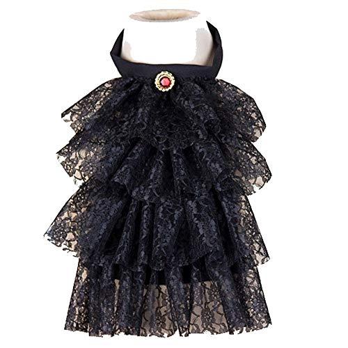 shoperama Jabot elegante de encaje con piedras preciosas, estilo steampunk, barroco, vampiro pirata, color: negro