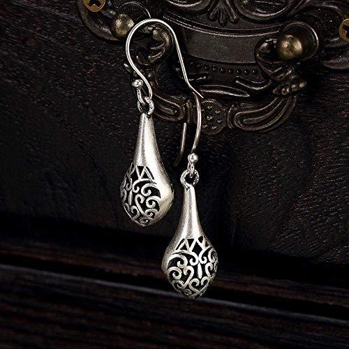 Gepersonaliseerd creatief oor Ring-S990 zilveren oorbellen Vaas Hollowed patroon Totem oorbellen Vintage vrouwelijke oorbellen Grootte: 2.5 * 1.1Cm, Thumby