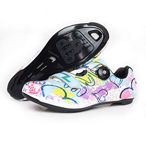 KUXUAN Calzado de Ciclismo Hombre Mujer Calzado de Bicicleta de Montaña Calzado de Ciclismo Ligero de Carretera con Bloqueo,Multicolour-39EU