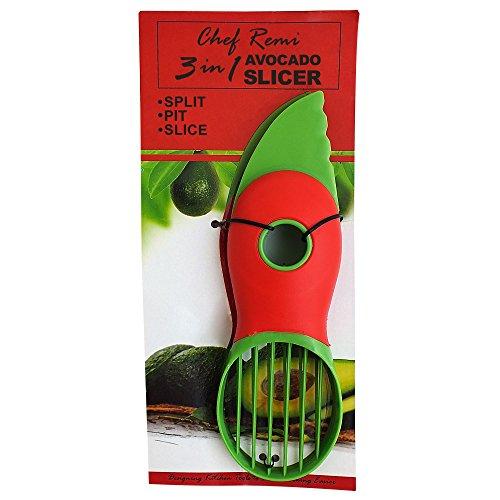 Chef Remi 3-in-1cortador de aguacate con cuchillo, deshuesador, pelador y cuchara. Utensilios de cocina herramienta para Fresh ripe aguacates. Votado Best cocina Gadgets