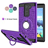 CompCompatible for LG K8 V Phone Case,LG K8V,VS500 Case,LDStars[HD Screen Protector] TPU & PC Heavy Duty Shockproof Protective Cover with Rotatable Ring Stand-Purple