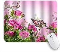 ZOMOY マウスパッド 個性的 おしゃれ 柔軟 かわいい ゴム製裏面 ゲーミングマウスパッド PC ノートパソコン オフィス用 デスクマット 滑り止め 耐久性が良い おもしろいパターン (赤いバラの花のピンクと黄色の蝶)