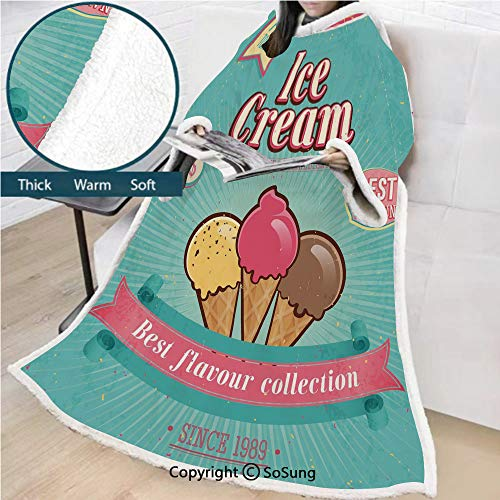 Ice Cream Decor Premium Sherpa Deluxe Fleece Blanket with Sleeves,Best Flavor Collection Quote with Free Topping Kids Design Decorative Throws Wrap Robe Blanket for Adult Women,Men,Seafoam Pink Light