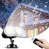 Lumière Projecteur Noël, NACATIN Projecteur LED Exterieur Noël Binoculaire avec Télécommande pour Extérieur/Intérieur/Fête/Noël/Atmosphère Soirée/Jardin/Bar/Mariage