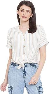 Madame Stripes Polyester V- Neck Womens Top(S21MAD1S18554O-P)
