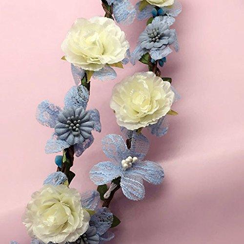 ZGP Couronne de Coiffure Enfant Fleur Couronne, Serre-Tête Guirlande de Fleurs à la Main de Jeune Mariée Parti Ruban Bandeau Wristband Hairband (Couleur : B)