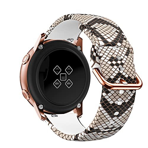 LLKHFA 20mm Reloj Correa para Samsung Galaxy Active 2 3 40mm 44mm 41mm 42mm Impresión Pulsera de Silicona Correa Amazfit GTS 2 Mini BIP (Band Color : Serpentine, Size : 20mm amazfit bip)