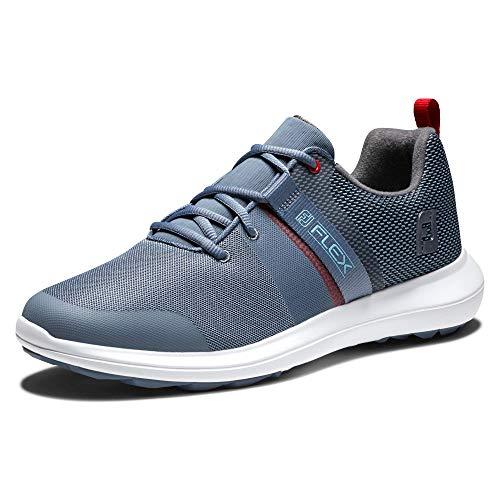 FootJoy Men's FJ Flex Golf Shoe, Slate/Red, 10.5 Wide