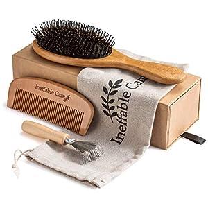 Beauty Shopping Boar Bristle Hair Brush Set for Women & Men – Wooden Comb & Detangling