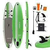 Arebos SUP Board | Stand up Paddling | Surfboard | 320 cm | aufblasbar | Single-Layer | Alu-Paddel | Hochdruck-Pumpe | Transportrucksack | 115kg Tragkraft | Grün