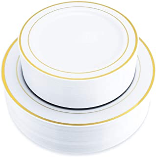 ÉLAN 120 Pack Gold Rim Disposable Plastic Plates for 60 Guests   60 Dinner and 60 Salad/Dessert Premium White Plates with an Elegant Gold Rim   Ideal for Parties and All Occasions (120, Gold)