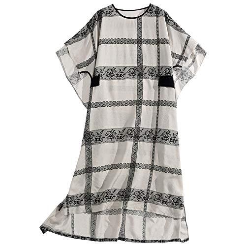 BINGQZ Cocktailjurken Zijde en linnen zomerjurk temperament losse plaid vrouwen groot formaat bedekt buik jurk