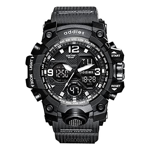 Relojes Militares para Hombres Reloj Deportivo electrónico Impermeable de 50 m con cronómetro, Alarma, retroiluminación LED, Reloj de Pulsera Digital de Doble Pantalla para Correr Nadar,Negro