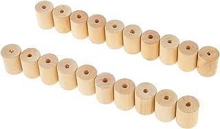 joyMerit 20 Pièces Perles en Bois Cylindre Tube Perles d'Espacement en Vrac pour la Fabrication de Bijoux - Bois, 20x25mm