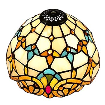 Upgrade Tiffany Style Baroque Replacement Table Lamp Shades 8  Width White Stained Glass by WeiJuMei