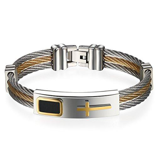 JewelryWe Schmuck Herren Armband, Klassisch Kreuz Dreifach Draht Armreif, Edelstahl, Gold Silber - kostenlos Gravur