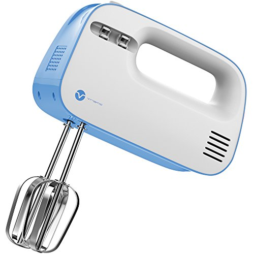 Vremi 3-Speed Compact Hand Mixer with Clever Built-In Beater Storage - Handheld Egg Beater with Stainless Steel Blades - Heavy Duty Mini Small Kitchen Mixing Machine - Blue and White