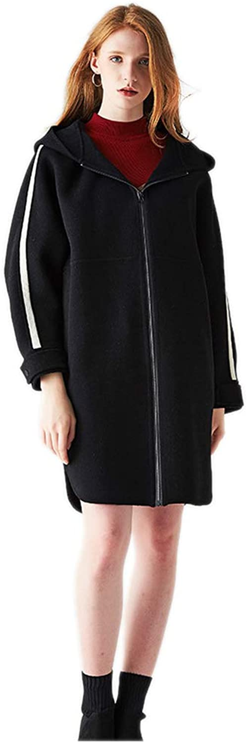 DoubleSided Cashmere's Coat for Women Casual Loose Fashion  Camping Party for Female Outwear,Black,M