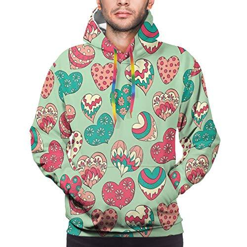 FULIYA Men's Hoodies Sweatshirts,Colorful Shapes On Pale Green Backdrop Flowers Dots Cheerful Love Valentines Day,Medium