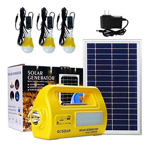 Solar-Beleuchtungssystem, tragbares Generator-Set, DC-Beleuchtung mit Power-Solarpanel, LED-Lampe, USB-Ausgang, Taschenlampen für Garage, Scheune, Cabana, Außenzelte, Gewächshaus und Dock (gelb)