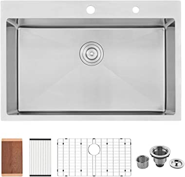 33 Kitchen Sink Drop In-VASOYO 33x22 Topmount Drop In Stainless Steel Kitchen Sink 16 Gauge 10 Inch Deep Single Bowl Drop In