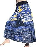RaanPahMuang Vincent Van Gogh The Starry Night Long Patch Skirt, Small Navy