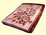 SOLARON King Two-Ply Burgundy Floral Mink Blanket