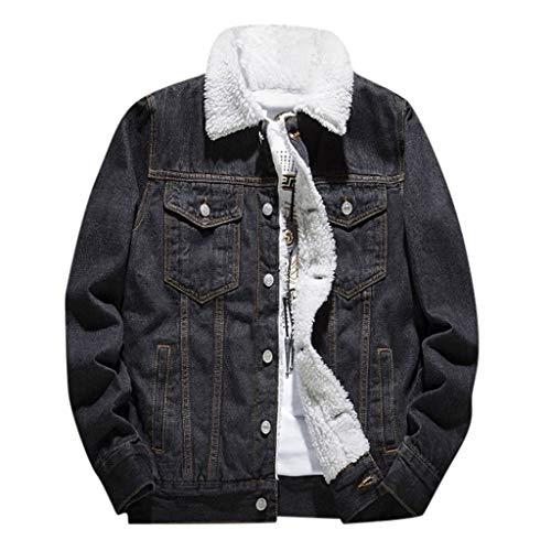 Fanteecy Men's Fleeced Denim Jacket Winter Fall Warm Cowboy Coat Outerwear Parka Jeans Denim Trucker Jackets Plus Size