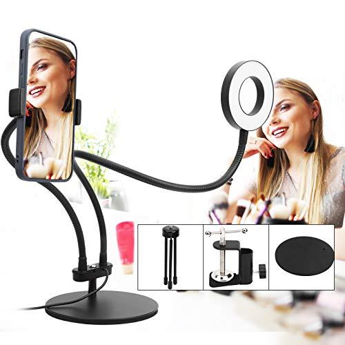 Anillo de luz LED para cámara, luz de relleno LED con clip, toma de fotografías para maquillaje Live Steam