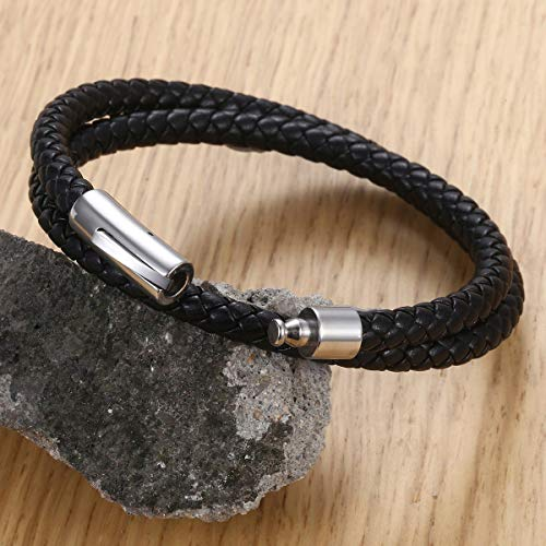 Trendsmax 6mm Double Black Braided Cord Rope Man-Made Leather Bracelet Only 8inch Stainless Steel Clasp