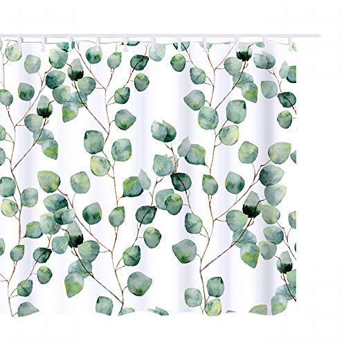 laamei Duschvorhang Wasserdicht Grün Blätter mit 12 Duschvorhängeringen Gardinen Polyester Waschbar für Badezimmer 180 * 180cm