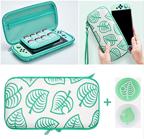 ELEWELT Protective Hard Shell Travel Carrying Storage Case with Grips Caps, for Animal New Horizons Edition Case for Nintendo Switch NS Lite Console (Green Leaves)